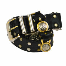 Authentic GIANNI VERSACE Medusa Belt Black Leather Vintage AK30676