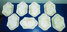 Antique Johnson Bros gold pink blue asters set of 8 bone dishes very old nice