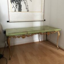 Antique Green Marble Effect Coffee Table Rectangle Shape