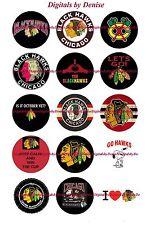 "CHICAGO BLACKHAWKS BOTTLE CAP IMAGES 30 1"" CIRCLES *****FREE SHIPPING*****"