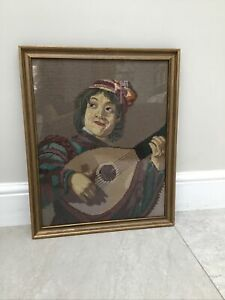 ANTIQUE GERMAN BERLIN WOOLWORK NEEDLEPOINT CROSS STITCH TAPESTRY. MAN WITH LUTE