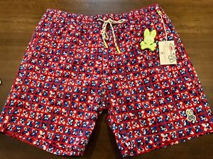 NWT Men's XL Psycho Bunny Filey Swim Trunks Brilliant Red Blue White Geometric