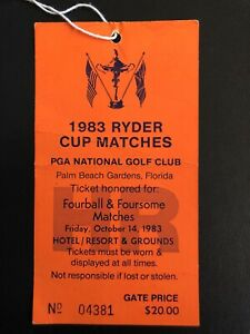 Ryder Cup 1983 Ticket Friday Fourball Foursome Stub Jack Nicklaus Captain
