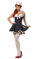Ladies Sexy Sailor Girl Costume Size 12 Includes Dress and Cap Gold Trim 3758