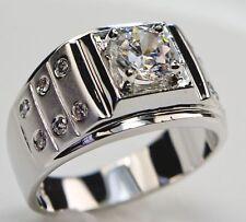 Iron Man 13 stone 2.6 carat cz men's ring18k white gold overlay size 14