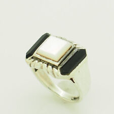 w/Black Onyx Accents Cocktail Ring 7 Solid Sterling Silver/925 Mother of Pearl