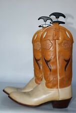 Ralph Lauren Polo Western 2 tone leather cutout cowboy boots New Heels EXCLLNT!