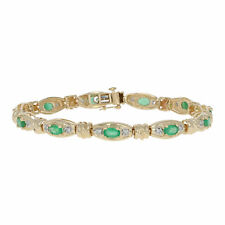 "2.86ctw Oval Cut Emerald & Diamond Bracelet 7"" - 14k Yellow Gold Link"
