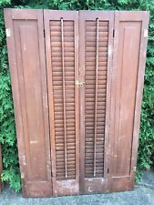 "PAIR ANTIQUE  Pine. WOODEN 1/2 LOUVERED SHUTTERS 45.25"" TALL/30"" TOTAL WIDTH"