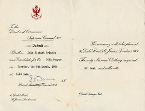 E06. Ancient and Accepted Rite 33° (Rose Croix) Admission Certificate 30th, 1954