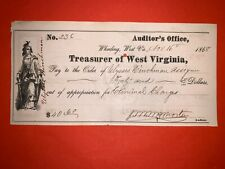 1868 WEST VIRGINIA TREASURER CHECK WARRANT WHEELING POST CIVIL WAR USA US UNION