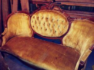 Antique sofa victorian walnut carved tufted velvet gold