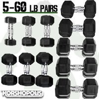 Rubber Hex Dumbbell PAIRS Home Gym Strength Resistance Training Free Weights NEW