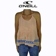 Womens O'Neill Essence Tie Luxe Rayon Beach Surf Sleeveless Top Peach Tank O1.12