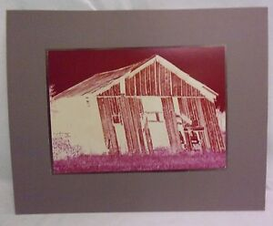Large Original Color Print Photograph Matted Western Barn Signed US 1979