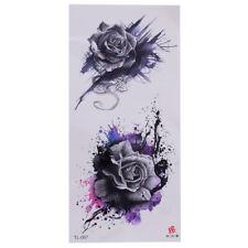 Rose Einmal Tattoos BlumenTemporäre Tattoo Body Sticker Abstrakt Farbe 19x9cm