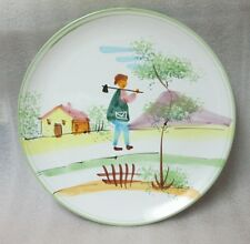 VTG Kitchen Decor ITALIAN MAJOLICA POTTERY Plate Wall Hanger Plaque Hand Painted