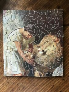 """VINTAGE SMALL EARLY PUSH-FIT WOODEN JIGSAW PUZZLE """" ANDROCLES & THE LION"""""""