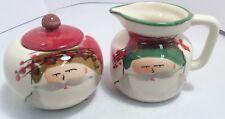 Vietri Old St Nick Ceramic Lidded Sugar Jar & Creamer Made In Italy