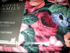 VINTAGE ROYAL FAMILY BY CANNON PERCALE KING FLAT SHEET LARGE FLORAL