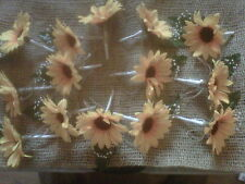 7 X wedding sunflower buttonhole  corsages with  shabby chic twine white  ribbon