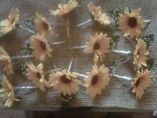 MATRIMONIO GIRASOLE Occhiello 14 Bouquet con SHABBY CHIC SPAGO. NASTRO BIANCO