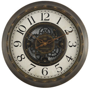 """Gears 16"""" Large Brushed Oil Rubbed Bronze Wall Round Wall Clock, Quartz - NEW"""
