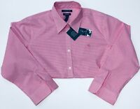 RALPH LAUREN LAUREN WOMEN'S PINK/WHITE CHECK PLUS SIZE BLOUSE