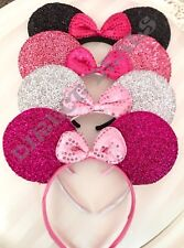 4 Pcs Sparkly Minnie Mouse Ears Headbands Collection Fuchsia Silver Pink Black