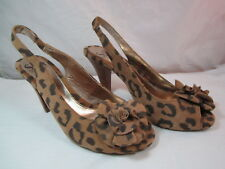 "Womens Sofft Animal Print Open Toe Heels Shoes Size 6.5M  3 1/4"" Heel"