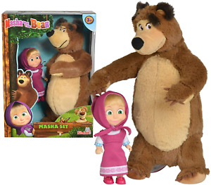 SIMBA Mascha und der Bär Plüschbär + Puppe Spielzeug Set (25 + 12 cm)