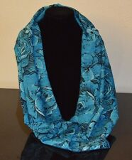 Turquoise Scarf women's, Infinity Handmade silky New roses elegant