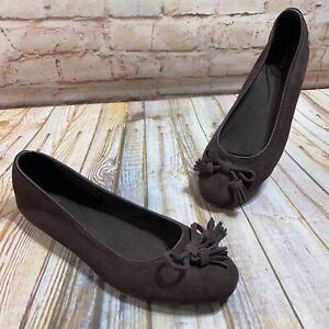 CROCS Lina Womens Size 9 Brown Suede Slip On Ballet Flats Comfort Shoes Tassel