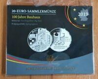 20 Euro Gedenkmünze Bauhaus +  PP +- BRD / Deutschland 2019 im Blister