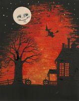 11X14 HALLOWEEN print of  PAINTING RYTA WITCH BLACK CAT MOON FOLK HAUNTED HOUSE