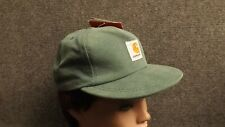 Vtg Green Kids Carhartt Duck Cotton Canvas Snapback Hat USA Made Adult 6 1/2 Max