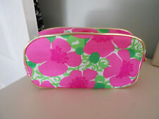 Lilly Pulitzer Estee Lauder Pink Hibiscus Cosmetic bag Pink Lucite Zipper Pull