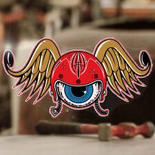 Flying Helmet Aufkleber Sticker Autocollante Old School Hot Rod gold 100mm