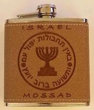 Israel Israeli Mossoad w Insignia Stainless Steel & Leather 6 Liquid oz Flask
