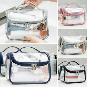 Women Clear Transparent PVC Travel Cosmetic Makeup Zip Toiletry Bag Organizer、!