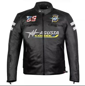 MV Augusta Corse Motorcycle Racing Full Grain Leather Jacket for Men/women,