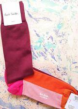 Paul Smith Mens English Socks Block Sock Damson Red Pink K412 One Size CottonMix