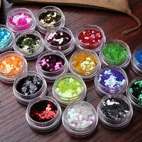 18 Colors Nail Art Tips 2mm Big Hexagon Glitter Set Decoration Acrylic UV Gel