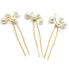 Plain Women Bridemaid wedding Crystal Pearl bead Bridle Bride to be hairpin Clip
