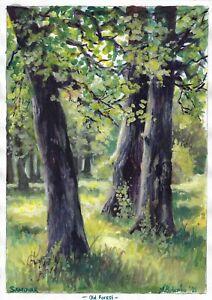original painting A3 117BOK art samovar watercolor landscape forest trees