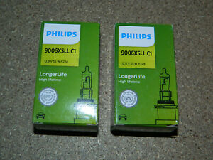(2) NEW PHILIPS LONGER LIFE 9006XSLLC1 HEADLIGHT BULB 12.8V 55W P22D
