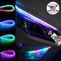 2x RGB Slim Sequential Flexible LED DRL Turn Signal Strip Remote Headlight Decor