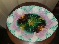 LARGE ANTIQUE MAJOLICA POTTERY LEAF DISH PLATE PLATTER pink green brown yellow