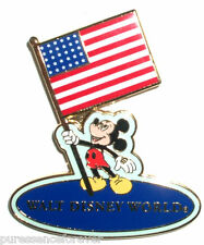 WDW Mickey Holding American Flag Pin (Pale/Dark Blue)