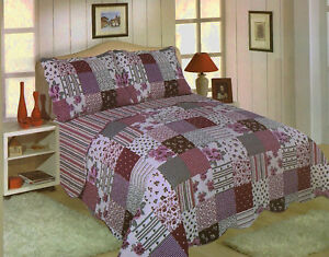 FREYA BEDSPREAD SET QUILTED TRADITIONAL PATCHWORK FLOWER STRIPE CHECK SCALLOP